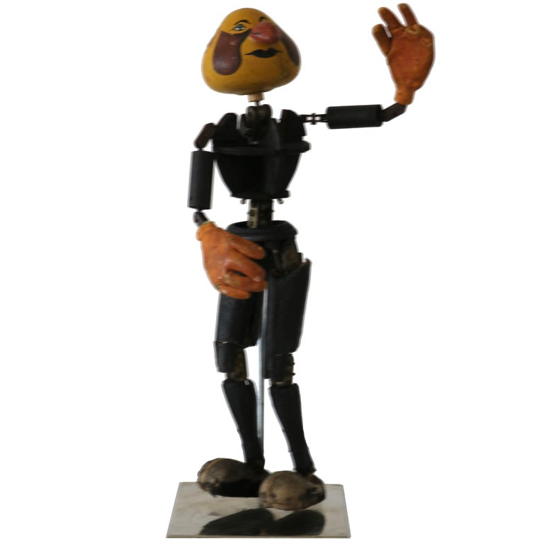 Handmade Articulated Wood Automoton Figural Doll Sculpture-Collectible Curiosity For Sale