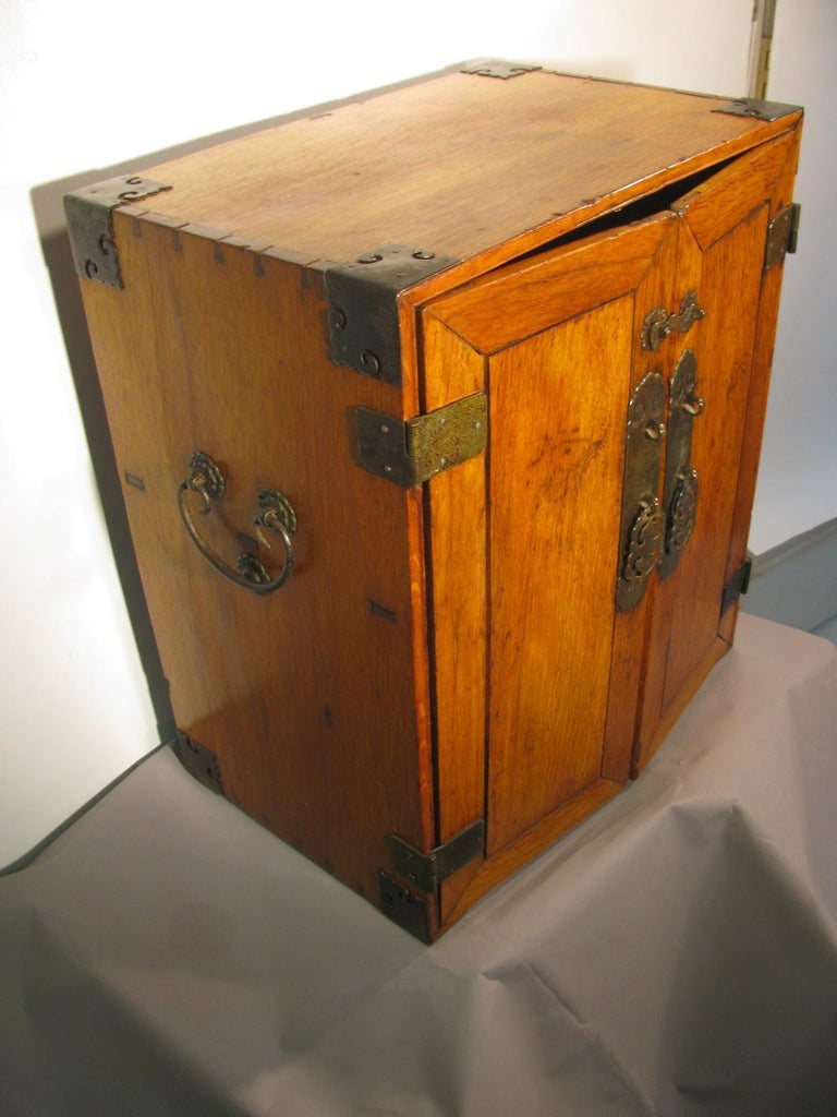 Handmade Asian Campaign Desk Jewelry Cabinet For Sale 4