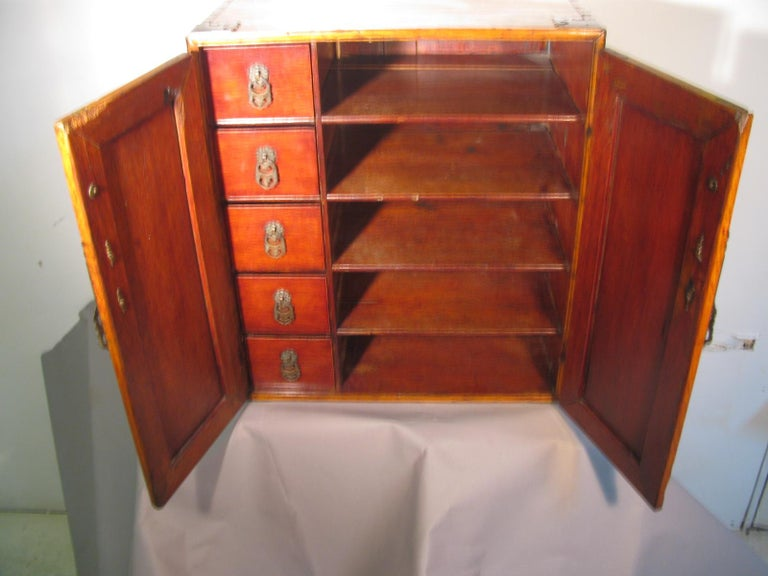 Chinese Handmade Asian Campaign Desk Jewelry Cabinet For Sale