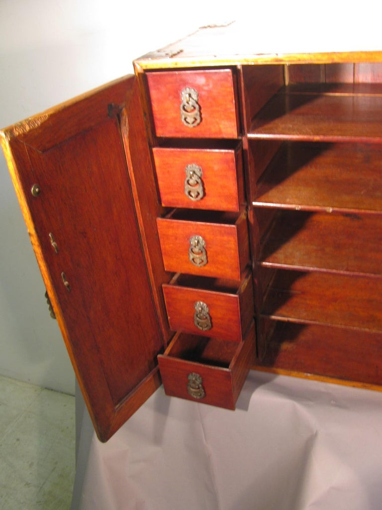 Hand-Carved Handmade Asian Campaign Desk Jewelry Cabinet For Sale