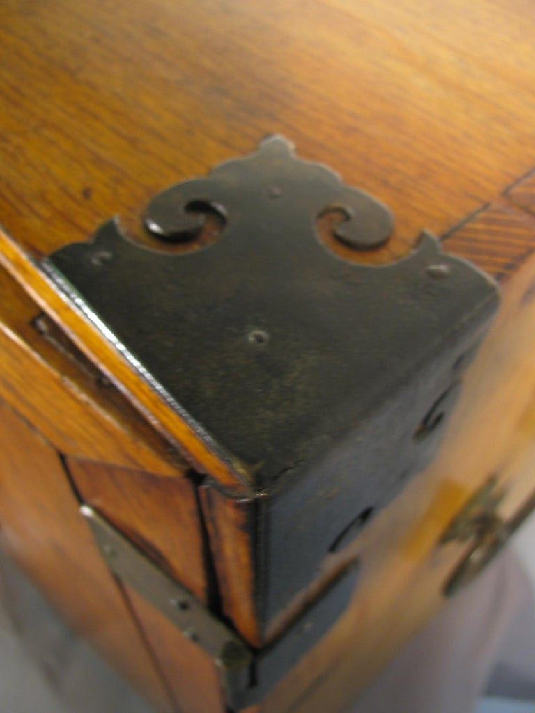 Iron Handmade Asian Campaign Desk Jewelry Cabinet For Sale