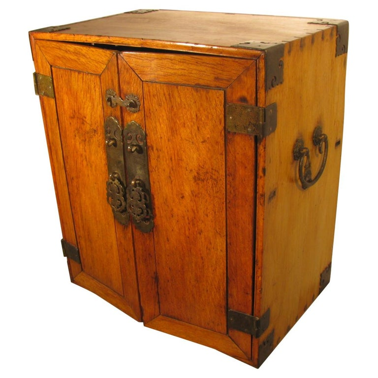 Handmade Asian Campaign Desk Jewelry Cabinet For Sale