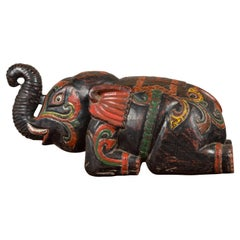 Handmade Asian Elephant Sculpture with Incised Decor and Multi-Color Finish