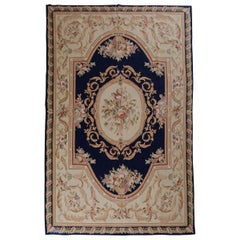 Handmade Aubusson Style Rugs, Floral Chinese Carpet Needlepoint Rug