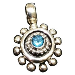 Handmade Beaded Blue Topaz Pendant