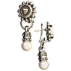 Handmade Beaded Heart Earrings with Pearls Drops