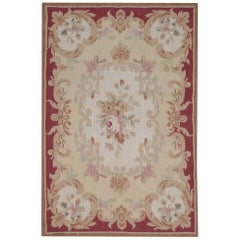 Handmade Beige Rug, Floral Patterned Carpet Flat-Weave Cream Aubusson Style Rugs