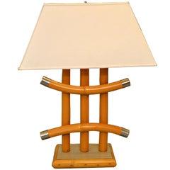 Handmade Bent Bamboo and Chrome Table Lamp