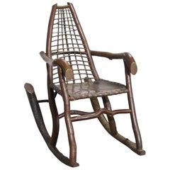 Handmade Birch and Copper Adirondack Rocking Chair
