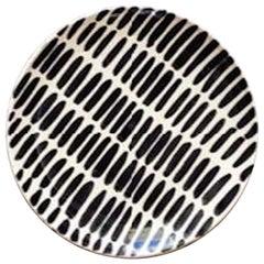 Handmade Black and White Ceramic Dash Pattern Dinner Plates, in Stock