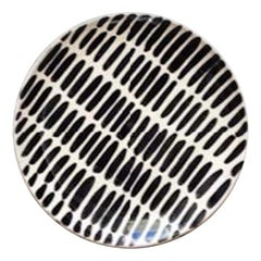 Handmade Black and White Ceramic Dash Pattern Salad Plates, in Stock