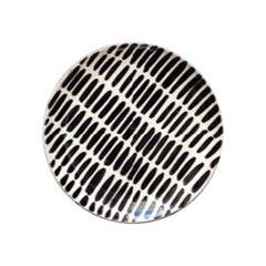 Handmade Black and White Ceramic Dash Pattern Saucer, in Stock