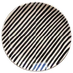 Handmade Black and White Stripe Ceramic Dinner Plates, in Stock