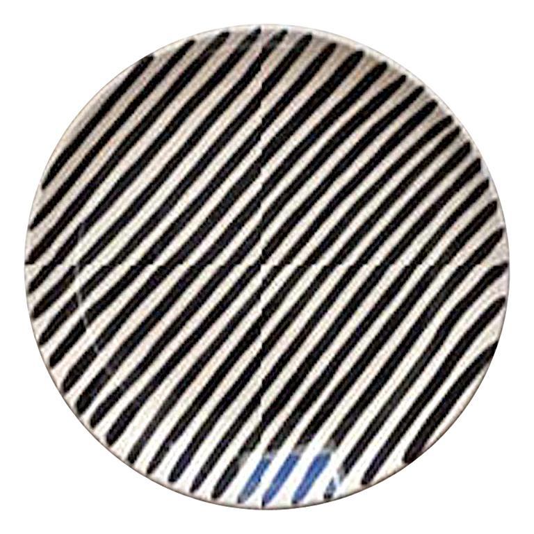 Handmade Black and White Stripe Ceramic Salad Plates, in Stock