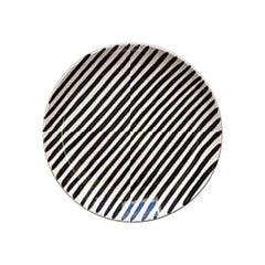 Handmade Black and White Stripe Ceramic Saucer, in Stock