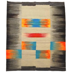 Handmade Black, Beige, Orange, Blue, Yellow and Wool Kilim, 1980s