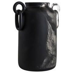 Handmade Black & Clear Resin Double Ring Vase, Tall