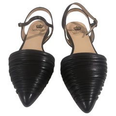 Handmade black leather sandals - ballerinas
