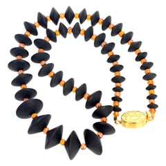 "Gemjunky Art Deco Collection 19.5"" Handmade Black Onyx & Orange Crystal Necklace"