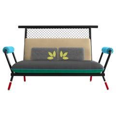 Handmade Black & Red PK7 Sofa, Carbon Steel & Metal Mesh by Paulo Kobylka
