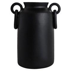 Handmade Black Resin Double Ring Vase