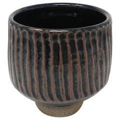 Handmade Black Striped Ceramic Vase