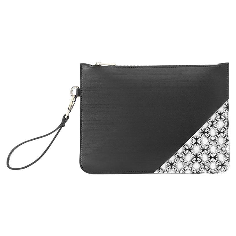 Handmade black white leather pochette handle bag NWOT