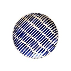 Handmade Blue and White Ceramic Dash Pattern Dinner Plates, in Stock