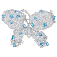 Handmade Blue and White Cubic Zirconia Brooch Pin
