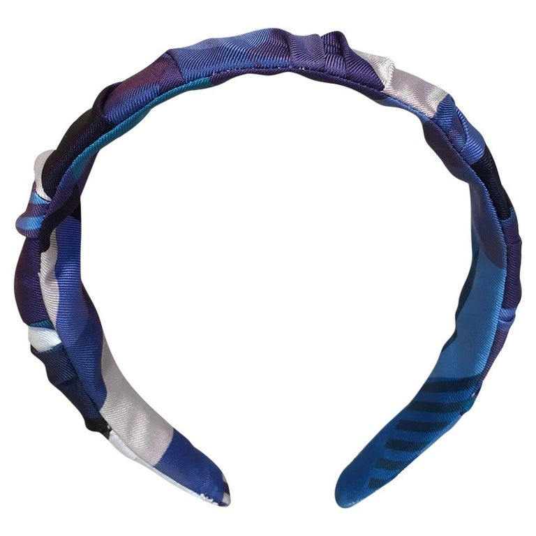 Handmade Blue Les Facèties de Pègase Silk Scarf Ruched Headband For Sale