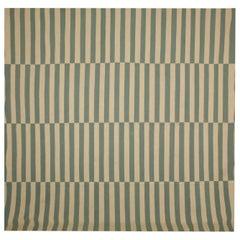 Handmade Blue Modern Striped Kilim Rugs, Persian Style Rugs, Beige Zebra Kilims