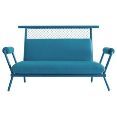 Handmade Blue PK7 Sofa, Carbon Steel Structure and Metal Mesh by Paulo Kobylka