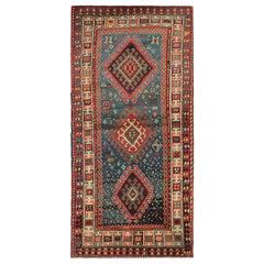 Handmade Blue Rug Traditional Primitive Caucasian Carpet Geometrical Border