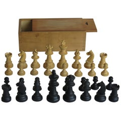 Handmade Boxwood Chess Set Complete Game Pine Lidded Box 70mm Kings, circa 1920