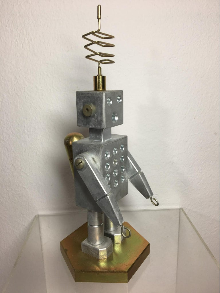 A unique conversation piece brass and aluminum Robot. Handcrafted by German craftsmen in the 1970s. Shipped directly from Germany to purchaser.