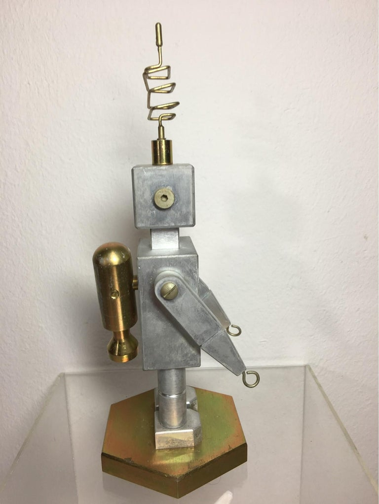 Handmade Brass and Aluminum Robot from Germany, 1970s In Good Condition For Sale In Frisco, TX