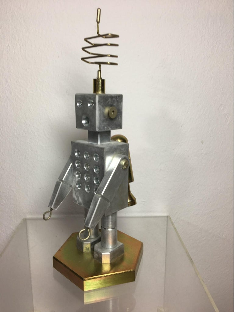 Handmade Brass and Aluminum Robot from Germany, 1970s For Sale 4