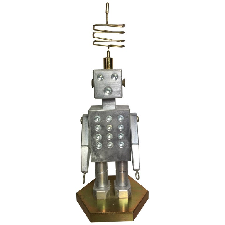 Handmade Brass and Aluminum Robot from Germany, 1970s For Sale