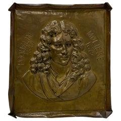 Handmade Brass Plaque of Poet Moliere