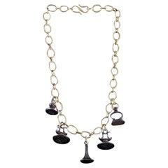 Handmade Bronze Chain Necklace with 1880s Antique Steel Seals