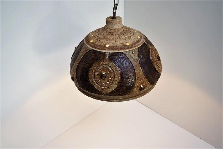 Handmade Brown Glazed Ceramic Pendant from Danish Jeti, Chris Haslev, 1970s In Good Condition For Sale In Spoettrup, DK