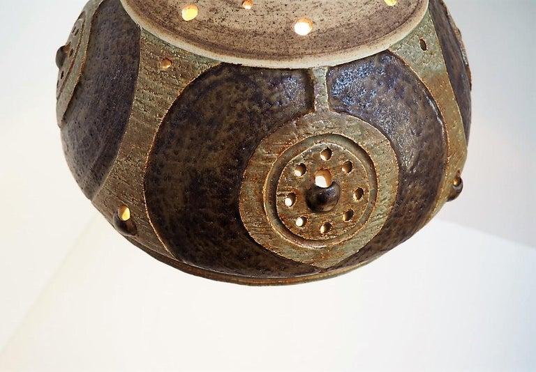 Late 20th Century Handmade Brown Glazed Ceramic Pendant from Danish Jeti, Chris Haslev, 1970s For Sale