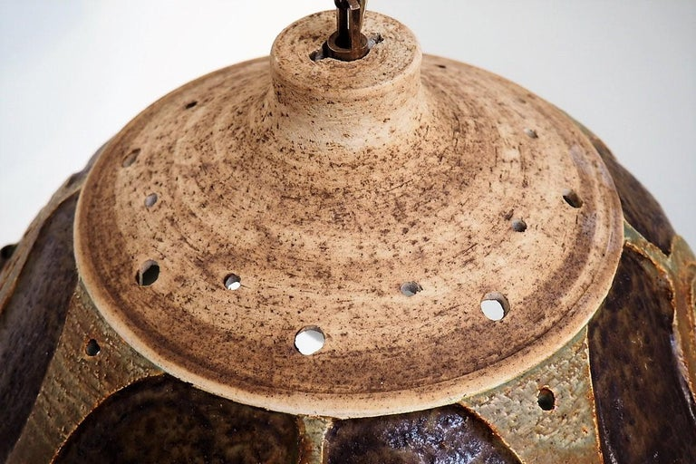 Handmade Brown Glazed Ceramic Pendant from Danish Jeti, Chris Haslev, 1970s For Sale 1