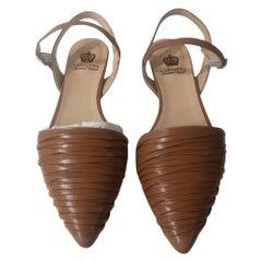 Handmade brown leather sandals - ballerinas