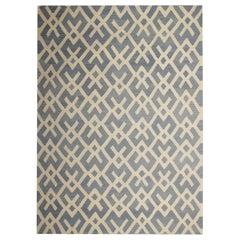 Handmade Carpet Afghan Rugs, Blue and Beige Kilim Rugs, Floor Area Modern Rugs