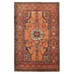 Handmade Carpet Antique Rug Caucasian Living Room Rug, Orange and Red Tribal Rug
