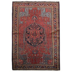 Handmade Carpet Antique Rug Caucasian Living Room Rug, Tribal Red Oriental Rug
