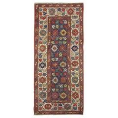 Handmade Carpet Antique Rug Kazak Caucasian Rug, Long Tribal Design Area Rug