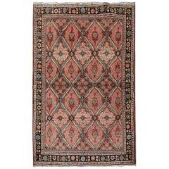 Handmade Carpet Antique Rug, Traditional Turkish Pink Living Room Rug Oriental