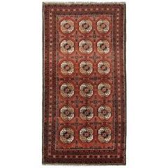 Handmade Carpet Antique Rug Tribal Turkmen, All-Over Oriental Living Room Rug